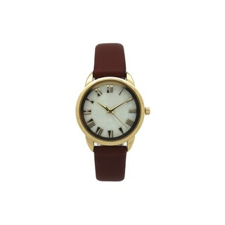 Olivia Pratt Women's Leather Mother-of-Pearl Dial Watch