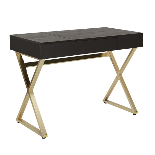 Office Star Products Andrea Powered Home Black And Matte Gold Office Desk