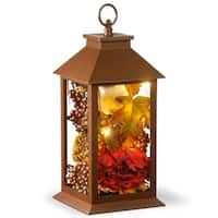 "15"" Autumn Lantern Décor with LED Lights"