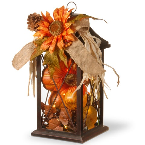 "15"" Autumn Lantern Decor with LED Lights"