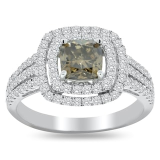 Auriya 18k Gold 1ct Fancy Brown Diamond and 3/4ct TDW Round Diamond Double Halo Engagement Ring