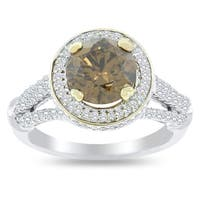 Auriya 18k Gold 2 5/8ct TW Certified One-of-A-Kind Fancy Brown Diamond Halo Engagement Ring