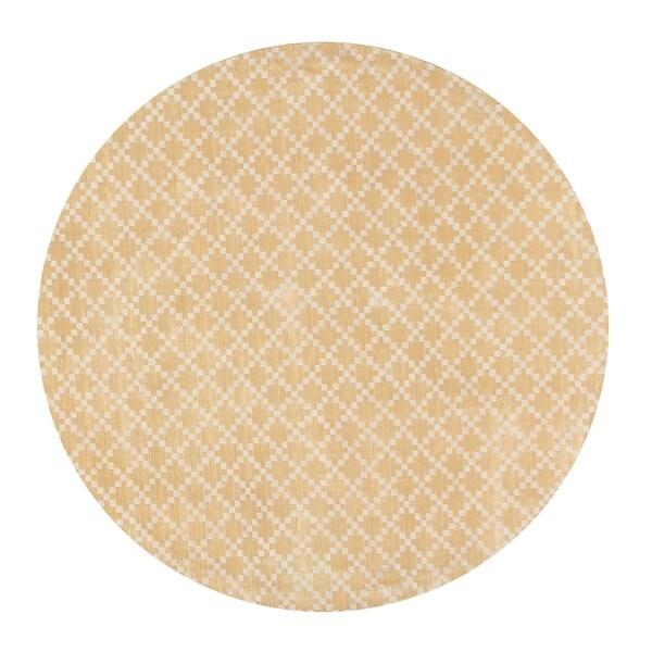 Eureka Beige Tencel Yarn Diamond Indoor Round Area Rug (5' x 5')