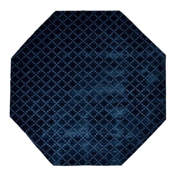 Eureka Diamond Teal Tencel Indoor Octagonal Area Rug (5' x 5')