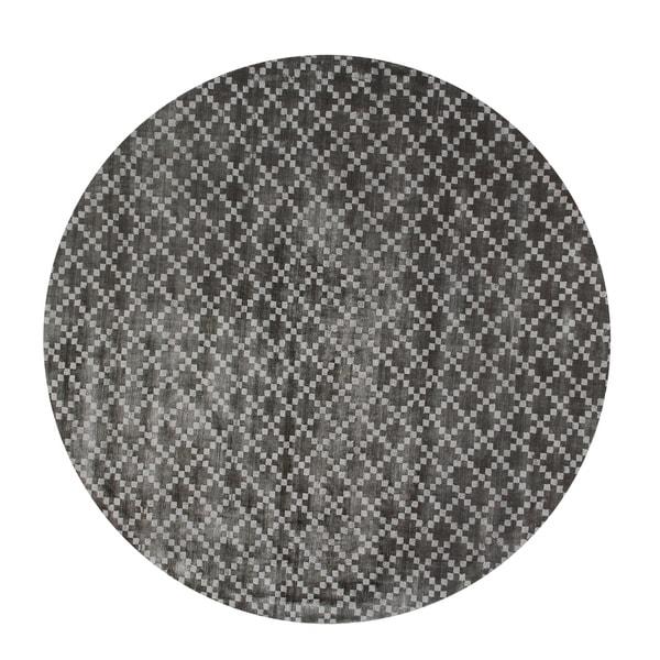 Eureka Diamond Indoor Midnight Black 5' Round Area Rug