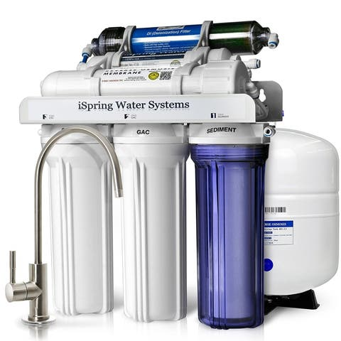 iSpring RCC7D 75 GPD Reverse Osmosis Water Filter System w/ Zero TDS Deionizer Filter for Aquariums and Spotless Cleaning