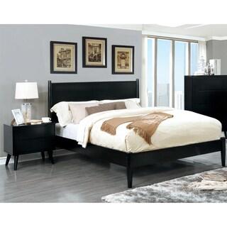 Furniture of America Corrine Black Mid-Century Modern 2-piece Bed and Nightstand Set