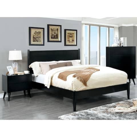 Furniture of America Fopp Mid-century Black 3-piece Bedroom Set