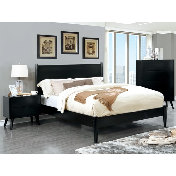 Corrine Mid-Century Modern Black 3-piece Bedroom Set