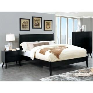 Furniture of America Corrine Black 3-piece Mid-Century Modern Bedroom Set