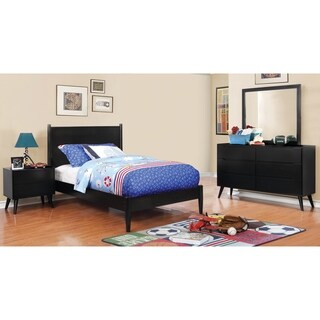Furniture of America Corrine Black Rubberwood 4-piece Mid-century Modern Bedroom Set