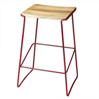 Butler Parrish Wood and Metal Bar Stool in Red(As Is Item)