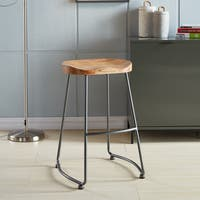 Moka Solid Wood and Metal Counter Stool - MOKA-26' (Set of 2) Natural (As Is Item)