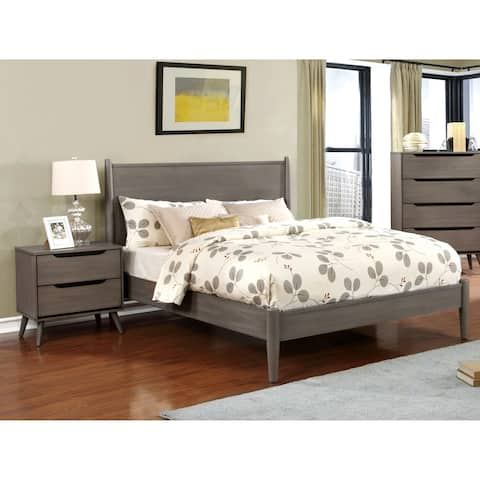 Furniture of America Corrine Grey Mid-century Modern 2-piece Bed and Nightstand Set