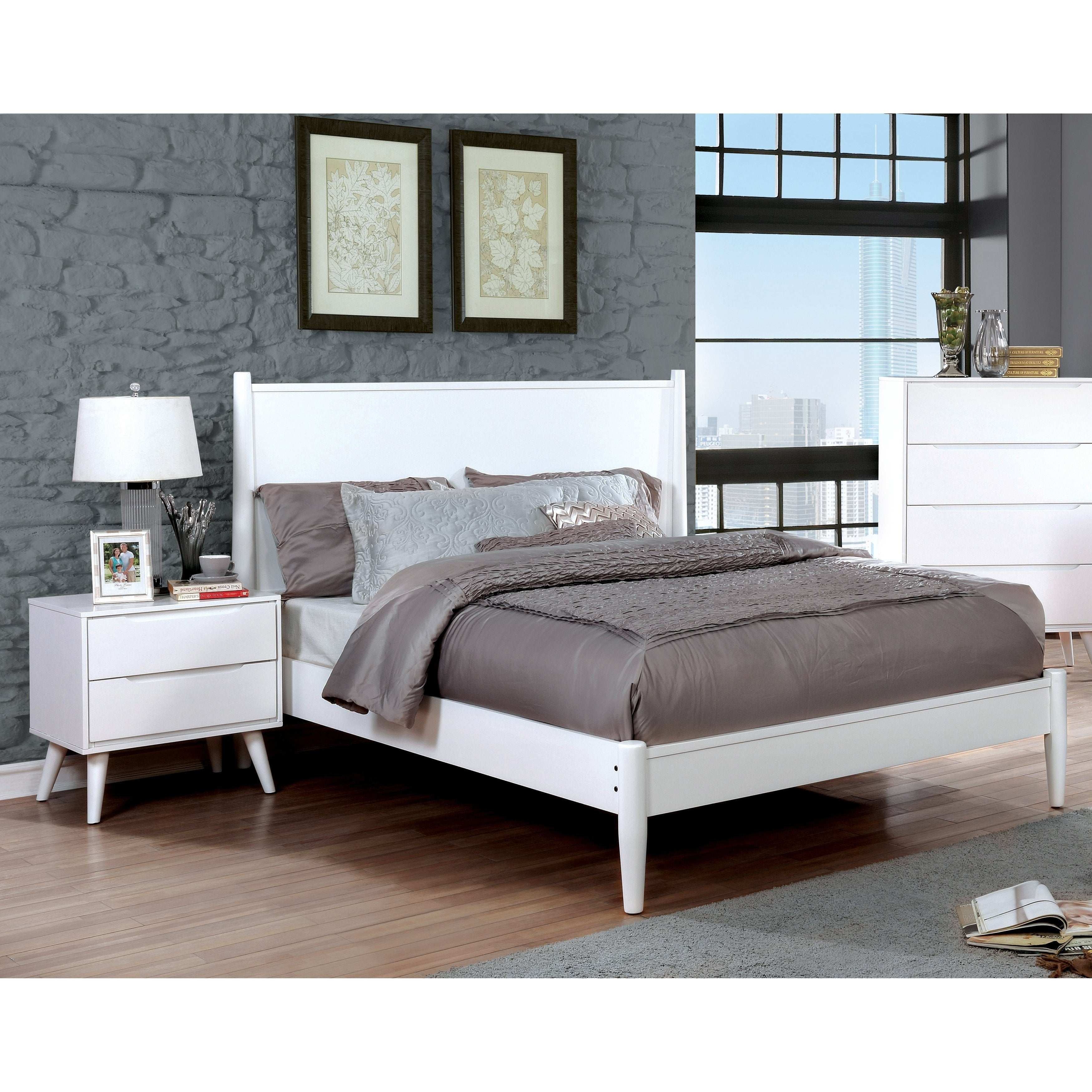 Corrine Mid-Century Modern White 2-piece Bedroom Set