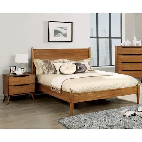 Corrine Mid-Century Modern Oak 2-piece Bedroom Set