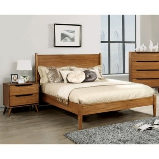 Furniture of America Corrine Mid-Century Modern Oak 2-piece Bed and Nightstand Set