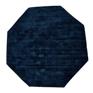 Malabar Collection Teal Tencel Yarn Indoor Octagonal Area Rug (5' x 5')