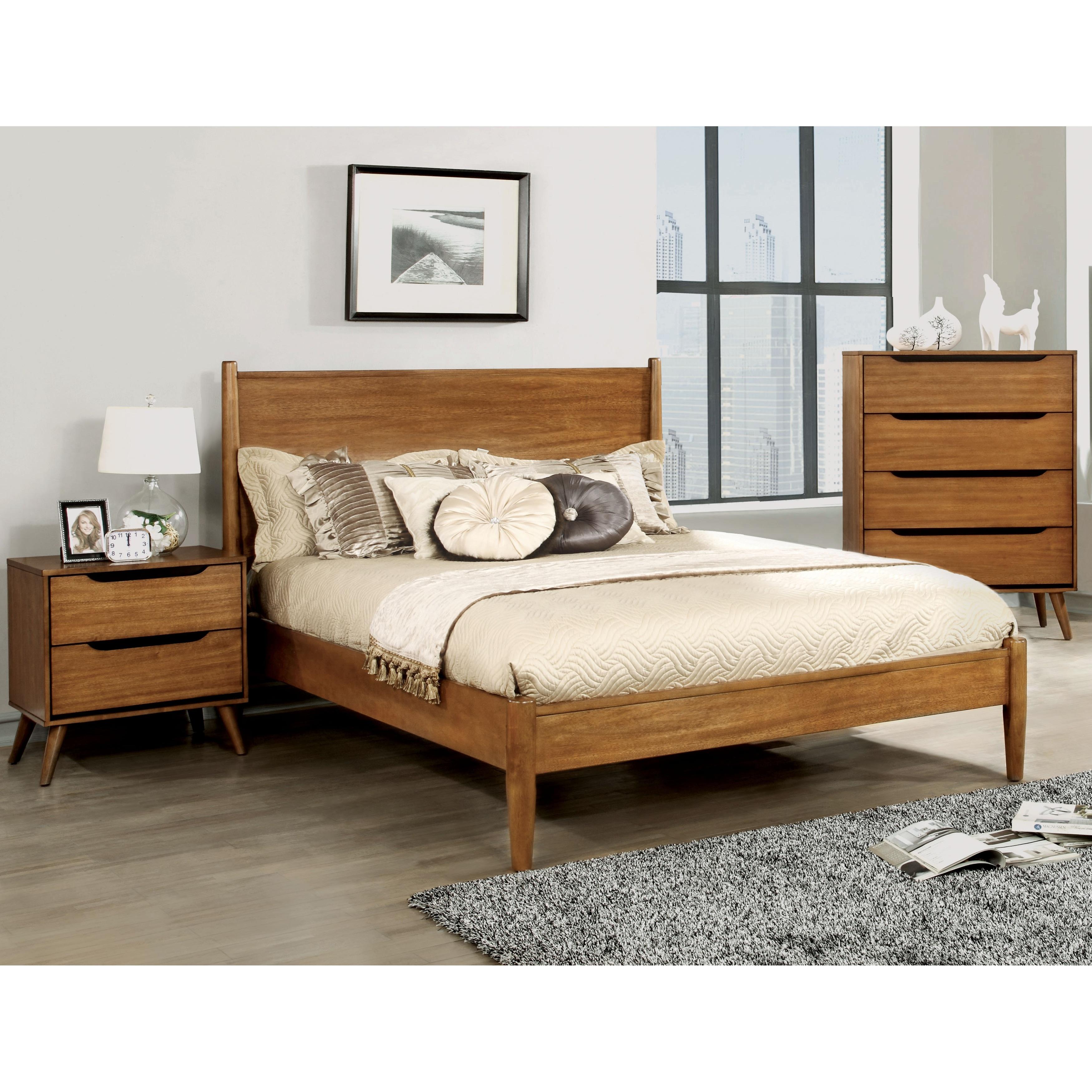 Corrine Mid-Century Modern Oak 3-piece Bedroom Set