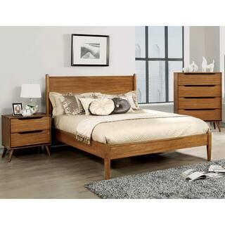 furniture of america corrine mid century modern oak 3 piece bedroom set - Mid Century Modern Bedroom Set