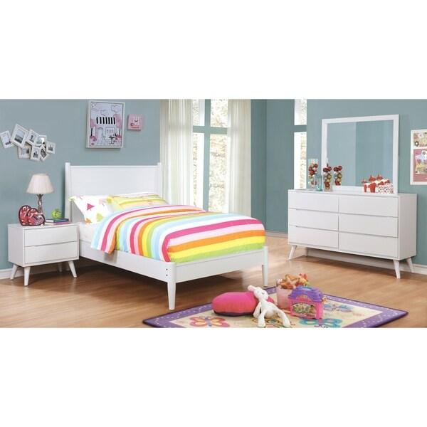 Furniture of America Fopp Mid-century White 4-piece Bedroom Set
