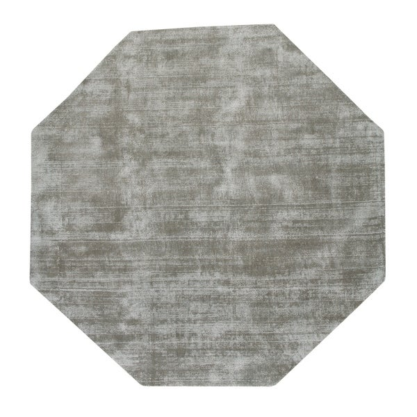 Malabar Collection Indoor Silver Grey 5' Octagonal Area Rug