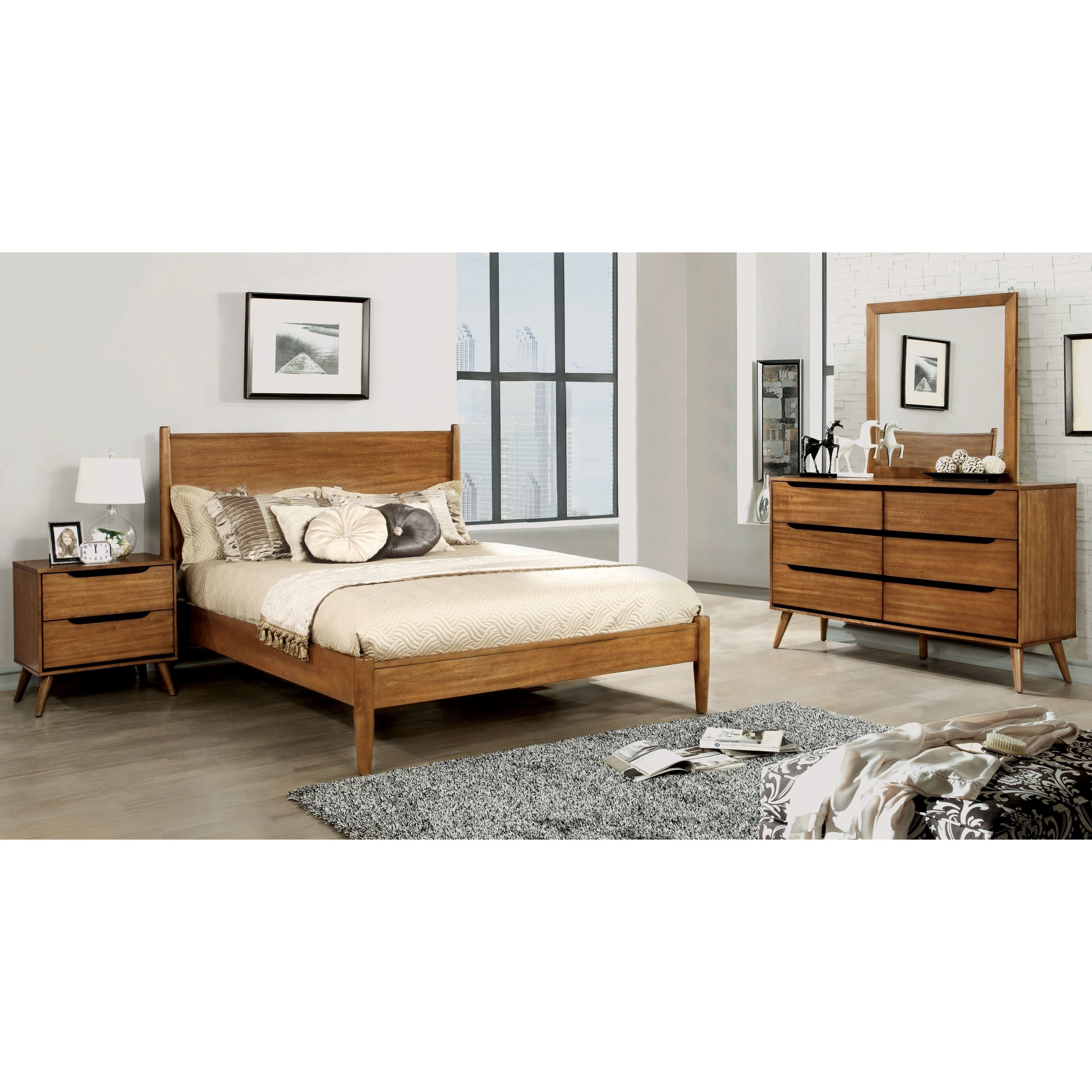 Furniture of America Fopp Mid-century Oak 4-piece Bedroom Set