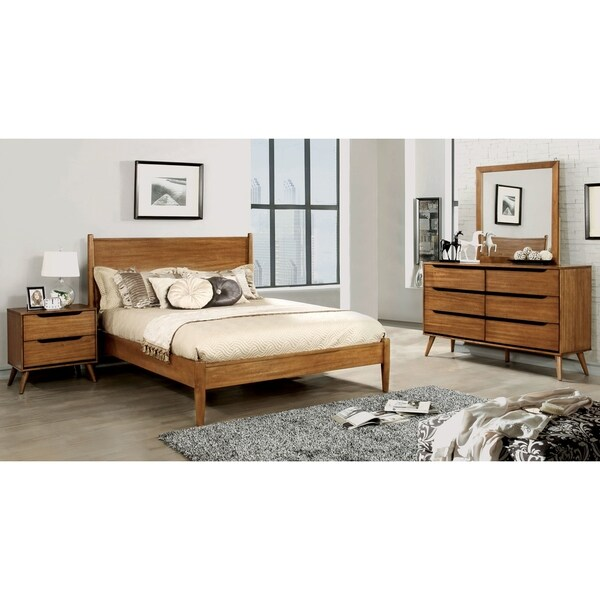 Furniture of America Fopp Mid-century Oak 4-piece Bedroom Set