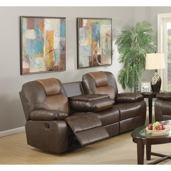 LYKE Home Jordy Two-Tone Brown Bonded Leather Recliner Sofa