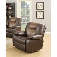 LYKE Home Jordy Two-Tone Brown Bonded Leather Rocker Recliner Chair