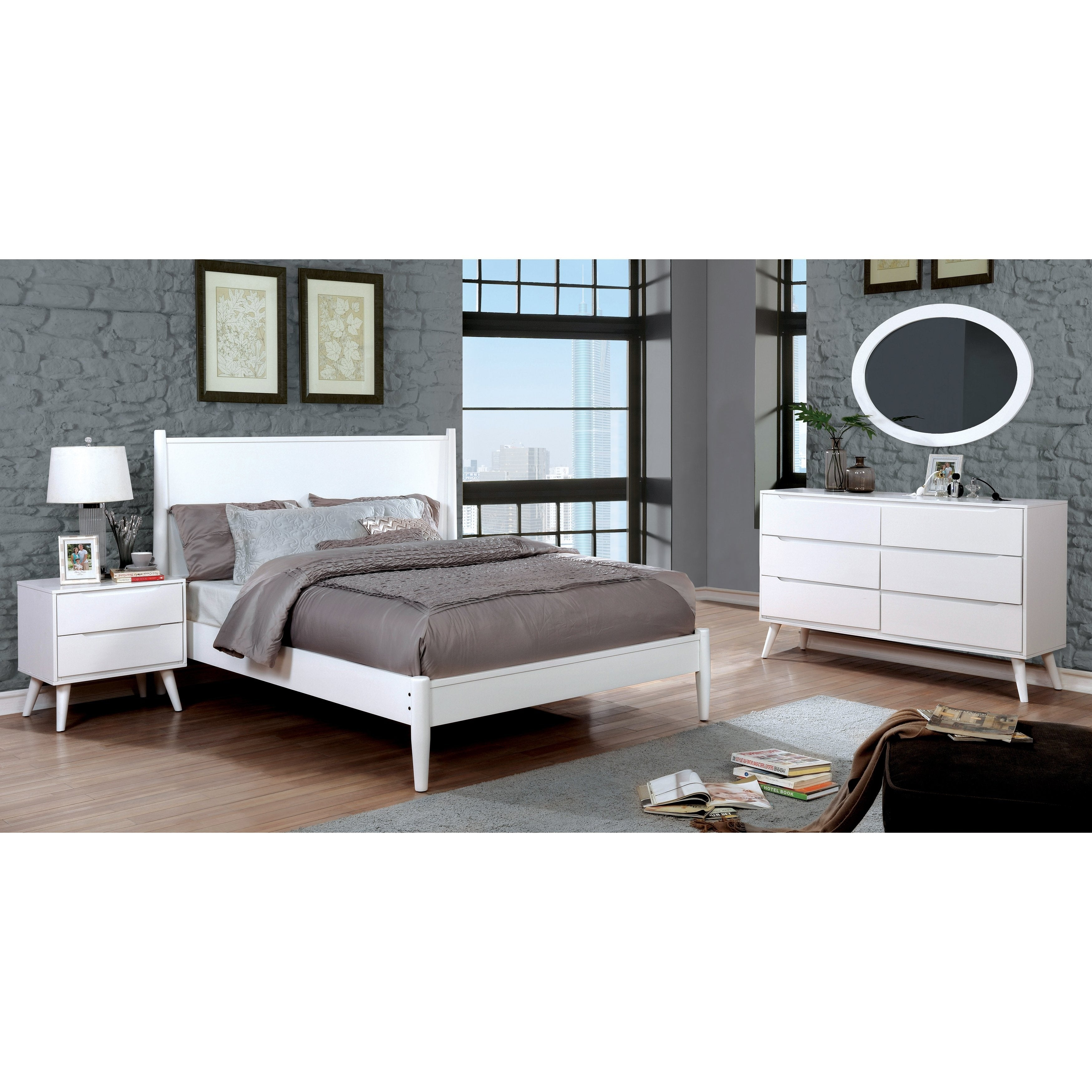 Corrine II Mid-Century Modern White 4-piece Bedroom Set