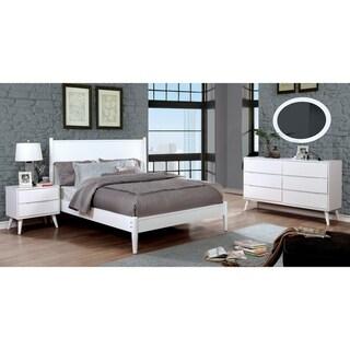Furniture of America Coop Mid-century White 4-piece Bedroom Set