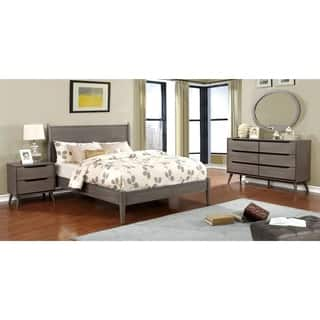 Furniture of America Corrine II Mid century Modern Grey 4 piece Bedroom Set. Modern Bedroom Sets For Less   Overstock com