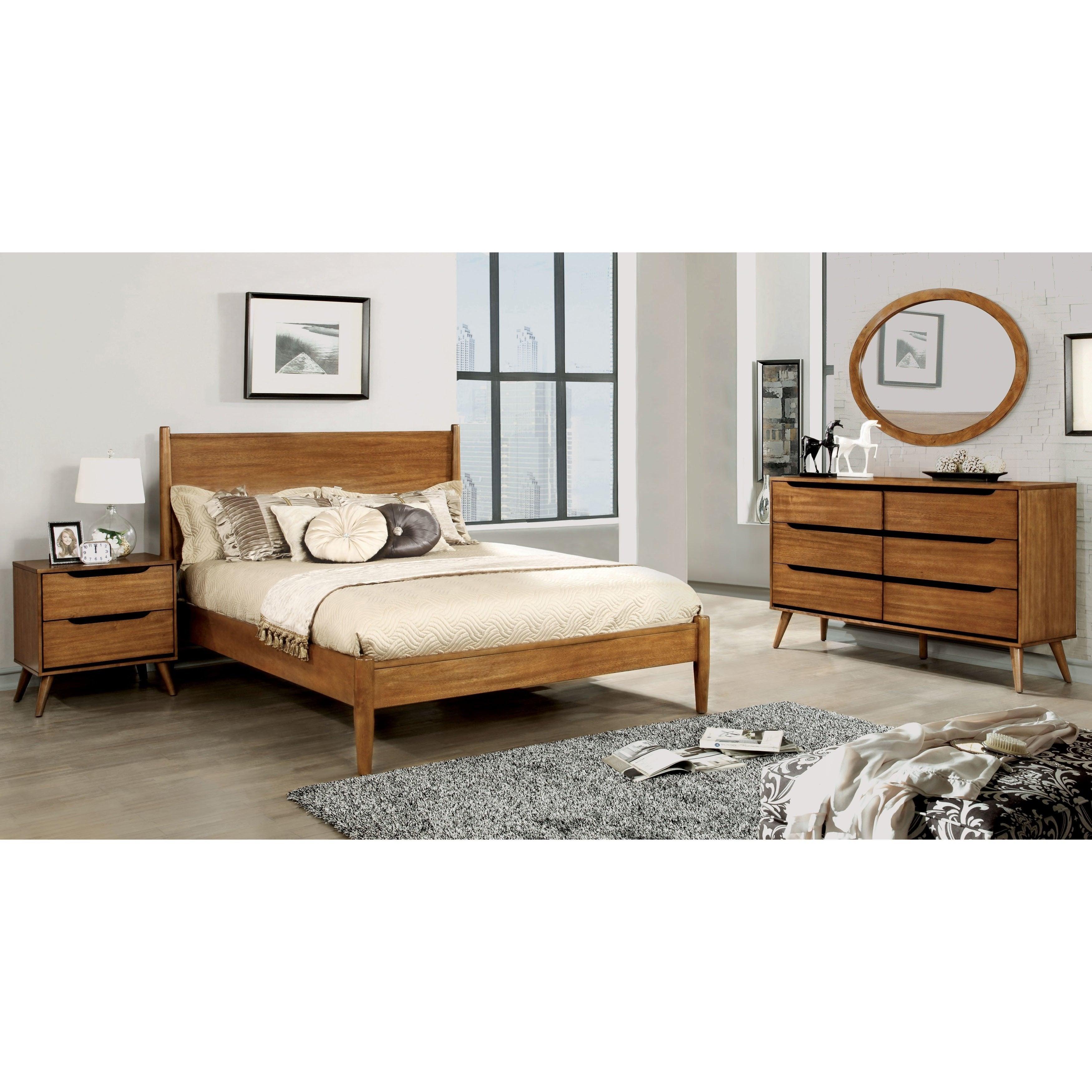 Shop Furniture Of America Coop Mid Century Oak 4 Piece Bedroom Set Overstock 17676121 Queen