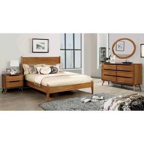 Furniture of America Coop Mid-century Oak 4-piece Bedroom Set