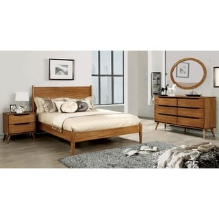 Furniture of America Coop Mid-century Oak 4-piece Bedroom Set