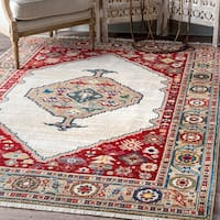 Copper Grove Kanha Traditional Diamonded Tribal Medallion Off-White Fringe Area Rug - 8' x 10'