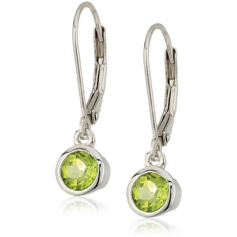 Sterling Silver Peridot Lever Dangle Earrings - Green