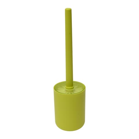 "DESIGN Bath Free Standing Toilet Bowl Brush and Holder Color: Taupe - 3.80""L x 3.80""W x 13.80""H"