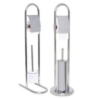 Evideco Stainless Steel Toilet Bowl Brush and Toilet Tissue Dispenser Set