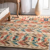 nuLOOM Southwestern Moroccan Inspired Abstract Gabbeh Beige Rug (5' x 7'5)