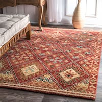 nuLOOM Southwestern Tribal Diamonds Trellis Border Rust Rug - 5' x 7'5