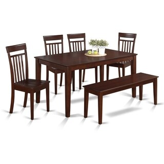 CAP6S-MAH-W 6 Pc Kitchen set - Table and 4 Kitchen Chairs and 1 Bench