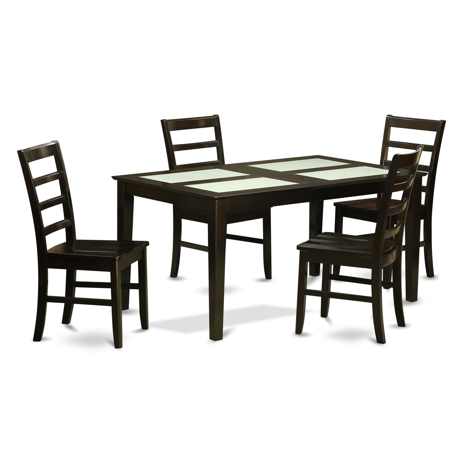 CAPF5G-CAP 5 Pc Dining set- Glass Top Dining Table and 4 ...