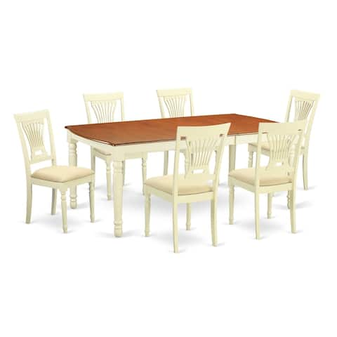 DOPL7-WHI 7 Pc dinette set -Dining Table and 6 Dining Chairs