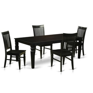 LGWE-BLK-W  5 Pc Dinette set with a Kitchen Table and 4 Wood Chairs