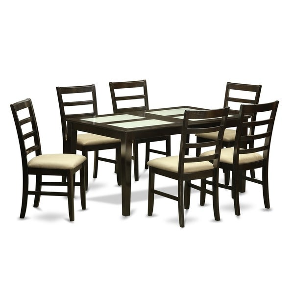 CAPF7G CAP 7 Pc Dining Room Set Glass Top Kitchen Table And 6 Chairs