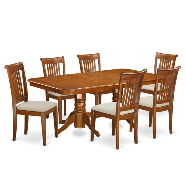 52 Kitchen Tables And Chairs Sets 7 Pc Dining Room: Shop NAPO7-SBR 7 PC Dining Room Set Table And 6 Chairs For