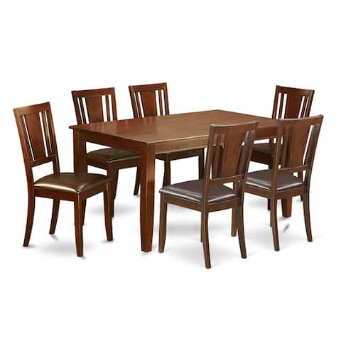 DUDL7-MAH 7 PC formal Dining room set-Table and 6 Dining Chairs