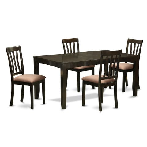 LYAN5-CAP 5 Pc Dining set for 4- Tables with Leaf and 4 Chairs